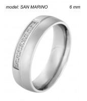 Oceľový prsteň SAN MARINO so zirkónmi 240292A