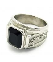 Oceľový prsteň s čiernym kameňom - 240635A
