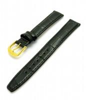 čierny kožený remienok na hodinky 16 mm - zlatá pracka