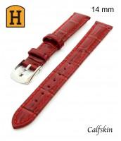 červený, kožený remienok na hodinky šírka 14mm 250016 - teľacia koža