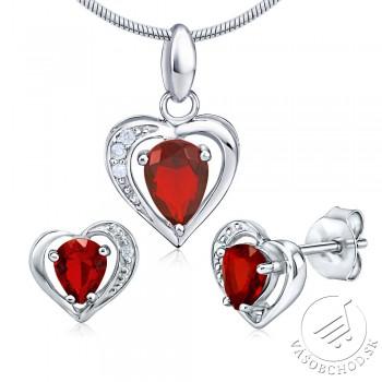 Strieborná súprava šperkov červené SRDCE - JJJS157