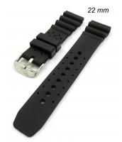 čierny, plastový remienok 22 mm na hodinky