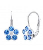Strieborné náušnice NEZÁBUDKY s modrými  Swarovski® Zirconia - S70611LB