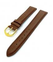 hnedý kožený remienok 18 mm - pravá koža - zlatá pracka