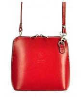 Kožená malá dámska crossbody kabelka červená - KK-1702 TR923 ROSSO