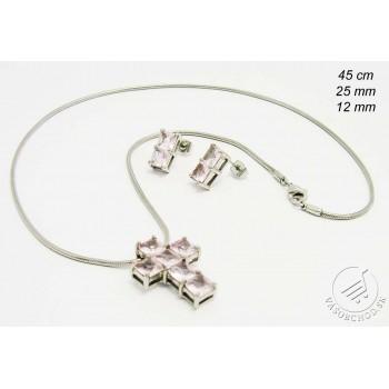 Súprava šperkov z ocele s ružovými kamienkami 232914R