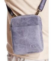 WILD Kožená pánska crossbody taška tmavo modrá 16x20x7cm - 1707-TGH NAVY