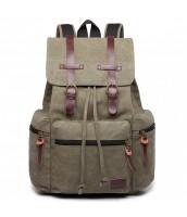 KONO veľký khaki zelený multifunkčný batoh s koženými doplnkami UNISEX - LU-E1672 GN