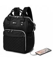 KONO Čierny batoh pre mamičky s USB portom vhodný aj na kočík - LU-6705USB