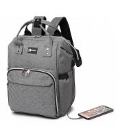 KONO Šedý batoh pre mamičky s USB portom vhodný aj na kočík - LU-6705USB