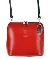 Kožená malá dámska crossbody kabelka červená s čiernym pásikom - KK-1702 CERVENO-CERNA
