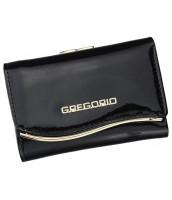 Gregorio čierna lakovaná malá dámska kožená peňaženka v darčekovej krabičke - ZLF-117 BLACK