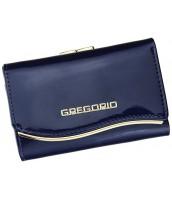 Gregorio modrá lakovaná malá dámska kožená peňaženka v darčekovej krabičke - ZLF-117 BLUE