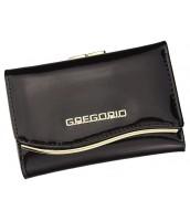 Gregorio tmavo hnedá lakovaná malá dámska kožená peňaženka v darčekovej krabičke - ZLF-117 DARK BROWN