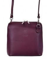 Kožená malá dámska crossbody kabelka matná fialová - KK-1702 FIALOVA