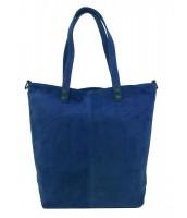 Kožená veľká modrá brúsená praktická dámska kabelka - KK-S7112