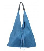 Kožená veľká dámska kabelka Alma džínsová modrá - KK-S7137 JE-JEANS