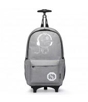 KONO multifunkčný šedý batoh na kolieskach, žiari v tme - LU-E6877 GY