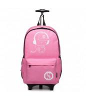 KONO multifunkčný ružový batoh na kolieskach, žiari v tme - LU-E6877 PK