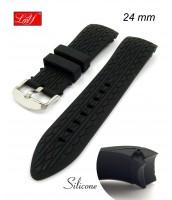 Čierny silikónový remienok na hodinky šírka 24 mm