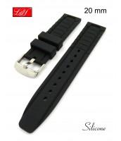 Čierny silikónový remienok 20 mm - čierny - silikónový - 10RE789