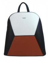 Čierno-hnedo-biely dámsky elegantný batôžtek - 4187-TS