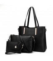 Praktický lakovaný dámsky kabelkový set 3v1 Miss Lulu čierna - LU-LT1766