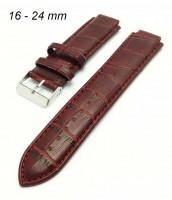 Bordový, kožený remienok s výrezom 16-24 mm - tmavočervený - 10E376CER