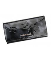 Kožená čierna dámska peňaženka Gregorio s motýľmi v darčekovej krabičke - BT106