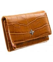 Camel hnedá menšia dámska kroko peňaženka v darčekovej krabičke MILANO DESIGN - SF1858