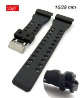 Čierny plastový remienok na  športové hodinky šírka 16/29 mm - 10RE817C