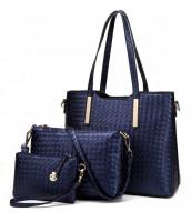 Praktický lakovaný dámsky kabelkový set 3v1 Miss Lulu modrá - LU-LT1766
