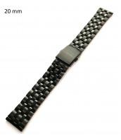 Čierny oceľový remienok 20 mm na hodinky - 10RE699-08