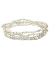 Biely Korálkový náramok / náhrdelník / pás z rokajlu - RK0201