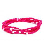Ružový korálkový náramok / náhrdelník / pás z rokajlu - RK0205