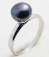 Oceľový prsteň s perlou Tahiti 233241A