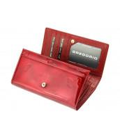 Kožená červená dámska peňaženka Gregorio s motýľmi v darčekovej krabičke - BT-114
