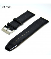 čierny kožený remienok 24 mm - syntetická koža