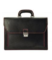 Kožená elegantná pánska aktovka GREGORIO, čierna s červenými švami - G819-1