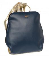 Elegantný dámsky módny batôžtek GROSSO, modro-zlatý - B04