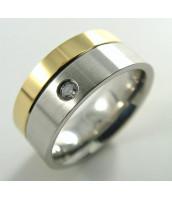 Oceľový prsteň bicolor so zirkónom - 232240B