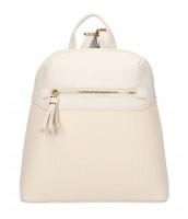 Béžový módny dámsky batôžtek s čelným vreckom - AM0065