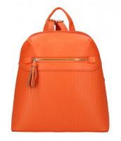 Korálovo oranžový módny dámsky batôžtek s čelným vreckom - AM0065