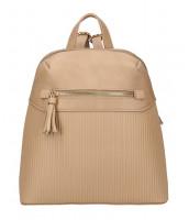 Béžovo-hnedý módny dámsky batôžtek s čelným vreckom - AM0065