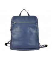 Kožený dámsky módny batôžtek s čelným vreckom Patrizia Piu tmavo modrý - KB-518-001