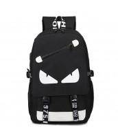 Svietiaci čierny študentský batoh, USB port - EYES BK