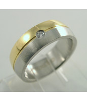 Oceľový prsteň bi-color so zirkónom - 232229B