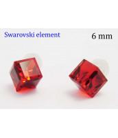 Červené náušnice Swarovski Elements 6mm - 235332CER
