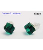 Zelené náušnice Swarovski Elements 6mm - 235332Z