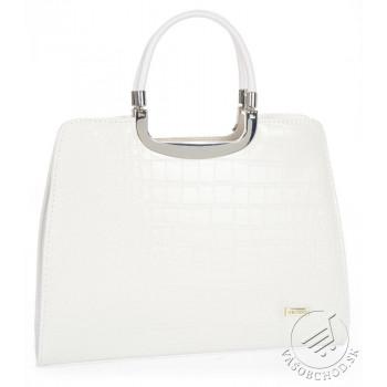 Elegantná biela matná kabelka v kroko dizajne GROSSO - S8